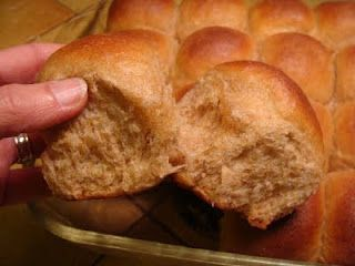 Soft 100% Whole Wheat Dinner Rolls Just in time for Thanksgiving, too! If you bring (or serve) these rolls at your dinner, rest assured people will be asking you for the recipe. They are light and fluffy and almost don't need any butter spread on them- but go ahead anyway. You won't believe they are 100% whole wheat- and just plain ol' regular whole wheat at that. It's all the eggs and butter and honey that make these so-good-you-can't-eat-just-one type of rolls. And they're easy, too
