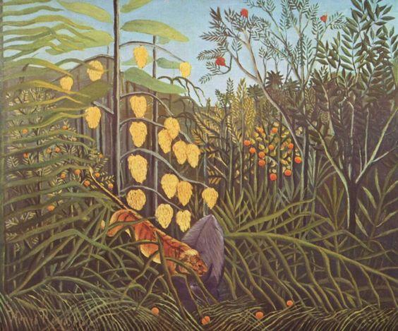 Henri Rousseau.  Kampf zwischen Tiger und Büffel. Nach 1891, Öl auf Leinwand, 46 × 55 cm. St. Petersburg, Eremitage. Frankreich. Postimpressionismus.  KO 02052