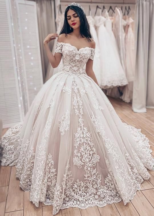 Ball Gown Off Shoulder Sleeve High Quality French Lace Wedding Dress Sweep Train Wedding Dress Wedding Dress Train Wedding Dresses