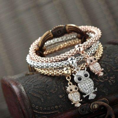 rhinestone owl charm bracelet sets