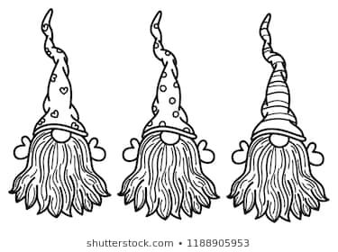 Vector Gnomes Cartoons Black Silhouettes Isolated On White Gnomes Crafts Gnomes Christmas Knomes