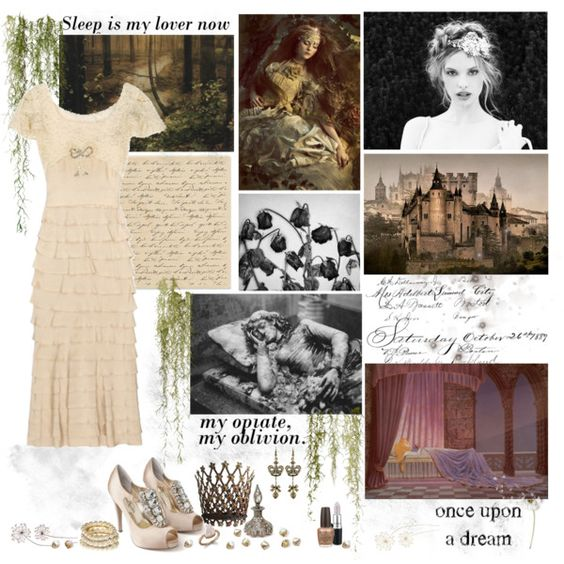 Sleeping Beauty by cyanideteaparty on Polyvore featuring Lauren Jones, H&M, Dara Ettinger, MAC Cosmetics, OPI, Steuben and Jackpot