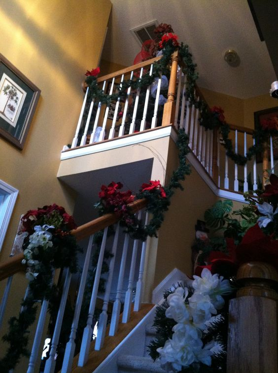 soaring foyer at Christmas time