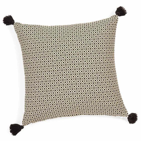 Kissenbezug mit Pompons aus Baumwolle 40 x 40 cm ETHNIC