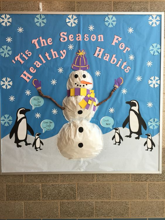 "Nurse ""winter"" board 2014- stuffed snowman w/3 healthy habits"