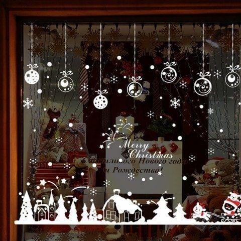 Fensteraufkleber Wiederverwendbarer Wiederverwendbar Fenster Aufkleber Weihnachtsdeko Dekorieren f/ür Schaufenster Vitrinen T/üren Fenster