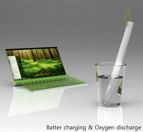 Plantbook Laptop, Green gadget.  Uses electrolysis for power