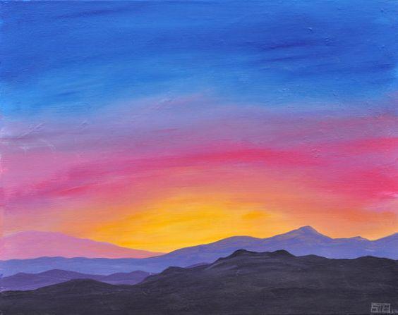 mountain sunrise original acrylic landscape painting on canvas art pieces pinterest. Black Bedroom Furniture Sets. Home Design Ideas
