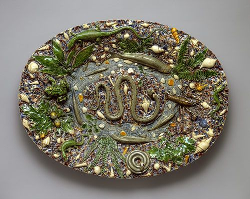 Platter, last quarter of 16th century  School of Bernard Palissy (French, 1510–1589)  Made in France  Lead-glazed earthenware
