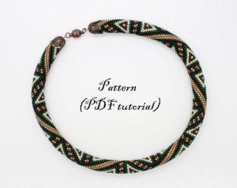 "Bead Crochet rope pattern - ""Eastern Night"", beaded necklace, beaded bracelet, Geometric Bead Woven, Modern Athletic, Unisex , tutorial"