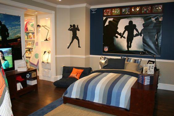 My son's football room makeover. | Boys bedroom makeover ...