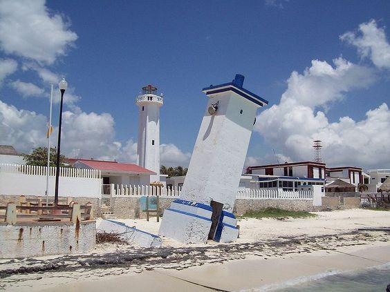 Faro de Puerto Morelos-Puerto Morelos- Yucatán Peninsula-Benito Juárez -Mexico ~~20.845292,   -86.879412~~The Lighthouse tilted by Hurricane Beulah in 1967 is the symbol of Puerto Morelos