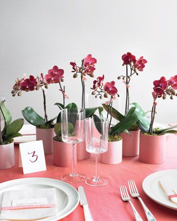 Stick with potted orchids (or any potted blooms, really!) and solve for centerpieces AND favors in one pretty purchase.