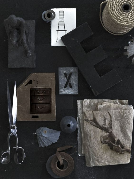 Black objects: Interior Design, Moodboards Styling, Letter E, Black Objects, Color Black, Monochromatic Colors, Fantastic Color