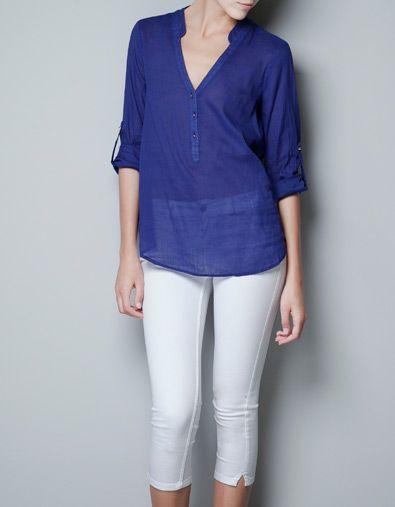 BLUSA BOTONES DORADOS - Camisas - Mujer - ZARA