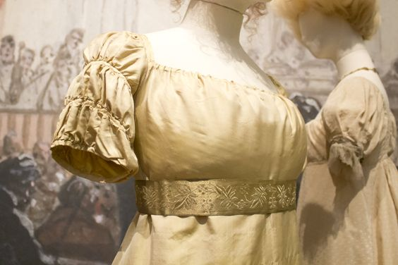 Gemeentemuseum the Hague exhibition on 19th century fashion. Evening dress (possible wedding-dress) ca. 1807-10  silk