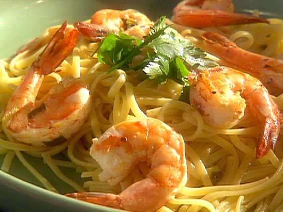 Emeril's Shrimp and Pasta with Chilis, Garlic, Lemon and Green Onions from FoodNetwork.com