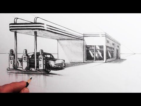 How To Draw A Building In 1 Point Perspective Draw A Gas Station Youtube 1 Point Perspective Point Perspective Perspective Drawing