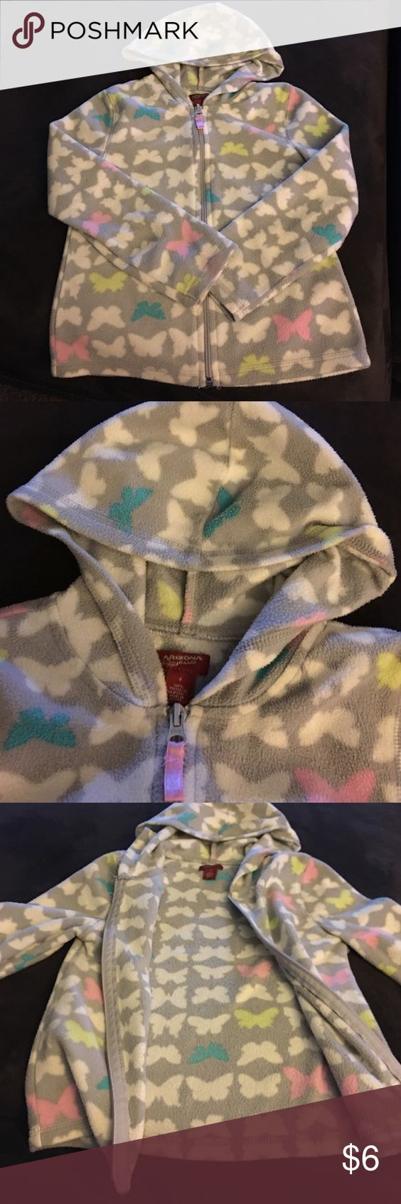 Arizona girl's hoodie. Arizona girl's hoodie in grey with butterflies. Girls size small.  Had a small pink stain on sleeve as seen on last picture. Arizona Jean Company Jackets & Coats