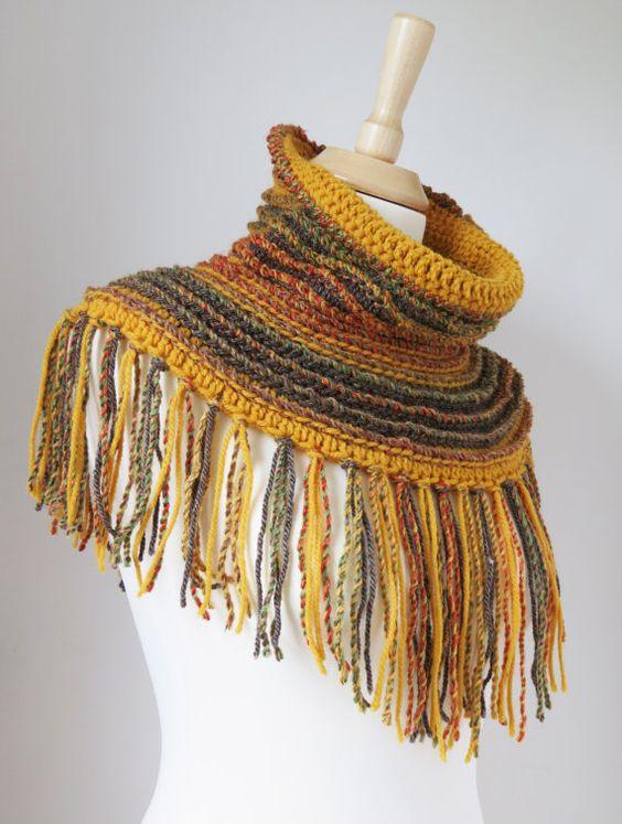 Neck Warmer Scarf Boho Wool Shawl Bohemian by MinnaMatildaDesigns