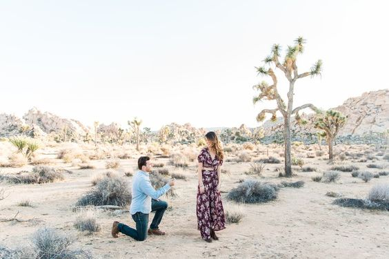 An adorable surprise proposal during a desert photoshoot! #engagement #howheasked #love
