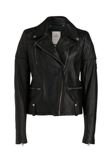 Nicht nur für Rockerfreundinnen ein absolutes Fashion-Muss! Schwarze Lederjacke mit gesteppten Details in butterweicher Qualität, die Dir lange Freude bereiten wird.