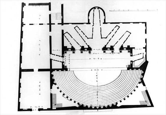 Teatro Olimpico pianta Bertotti Scamozzi 1776 - Teatro Olimpico - Wikipedia