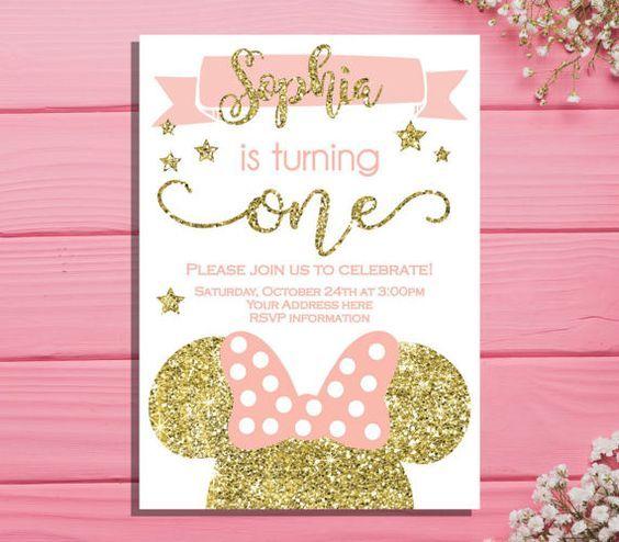 Invitaciones De Minnie Rosa Con Dorado Minnie Mouse Primer