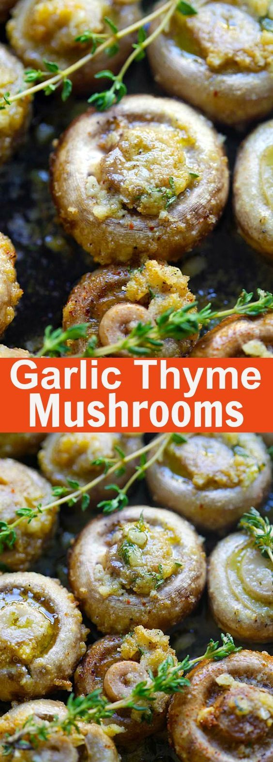Buttery roasted mushrooms with garlic, thyme and breadcrumbs. A healthy and easy side dish   rasamalaysia.com