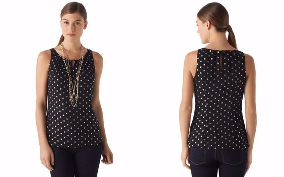 WHITE HOUSE BLACK MARKET $88 Beaded Pleated Gold Dot Metallic Tank Top M…
