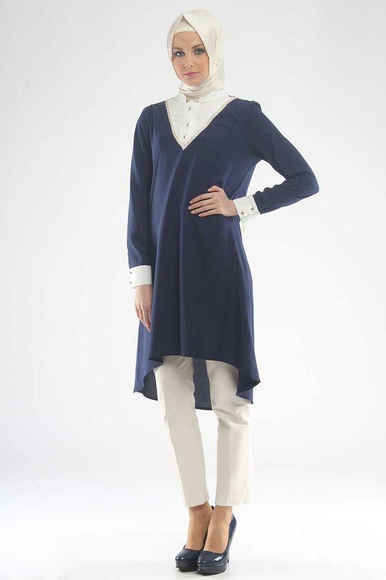 Modesty - Gömlek Görünümlü Lacivert Tunik