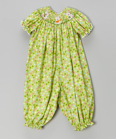 This Green Bunnies Smocked Playsuit - Infant by BeMine is perfect! #zulilyfinds