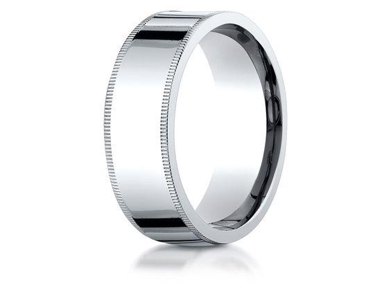 Benchmark Palladium 8mm Flat Comfort-fit Wedding Band / Ring With Milgrain