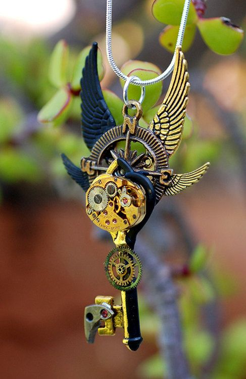 Golden Steampunk Time Travel Key by *Keyperscove