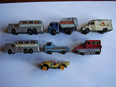 7 VINTAGE LESNEY DIE CAST TOY VEHICLES-includes Ambulance, Refuse Collector - http://www.matchbox-lesney.com/26766