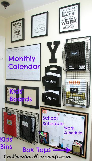 Monthly Calendar: Meals, money (dave ramsey inspired), and all of our schedules Bin for Ivan, Bin for me, Bin for Aaron. BUdget binder Mail (incoming & outgoing)  Receipts  Coupons
