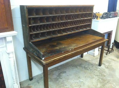 rare orig antique 1930s wooden wood post master office mail sorter cabinet table antique office table