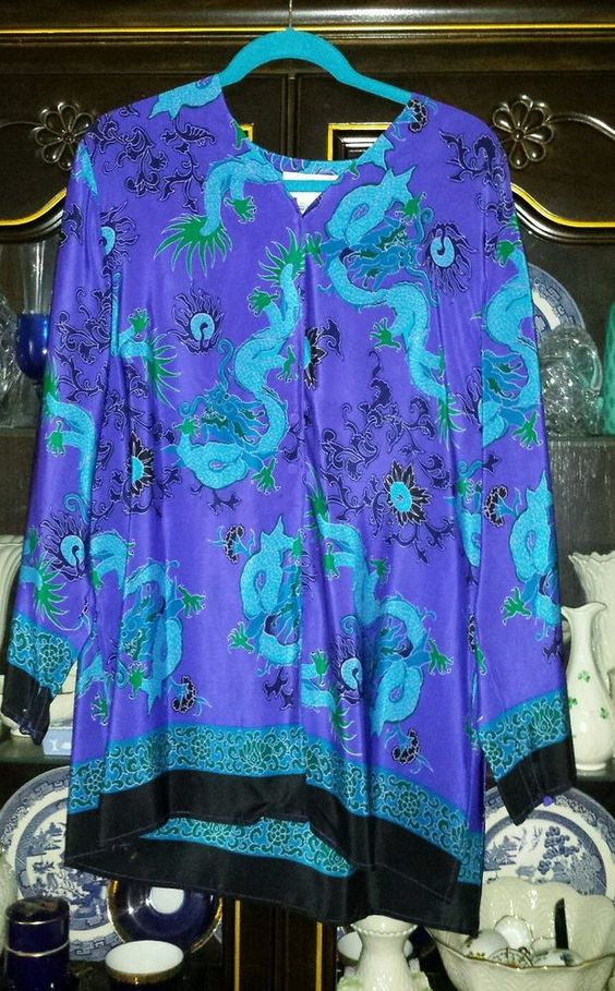 SOLD!!!!!!!!! DIANE VON FURSTENBERG DRAGON PRINT SILK TUNIC BLOUSE OVER SIZE  SZ S #DIANEVONFURSTENBERG #Blouse