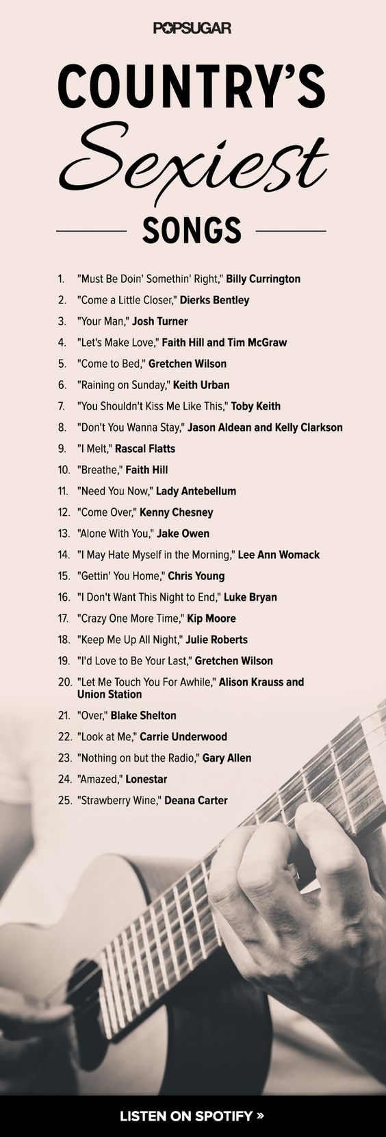 Here's your sexy country songs playlist! Billy Currington, Dierks Bentley, Josh Turner, Faith Hill, Tim McGraw, and more!