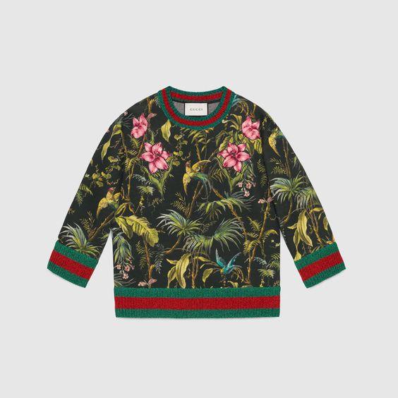 Sweatshirt en polaire épaisse à imprimé tropical