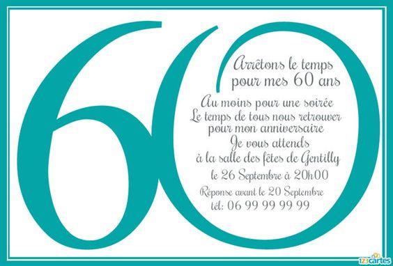 Invitation anniversaire 60 ans personnaliser et for Couleur bleu turquoise fonce