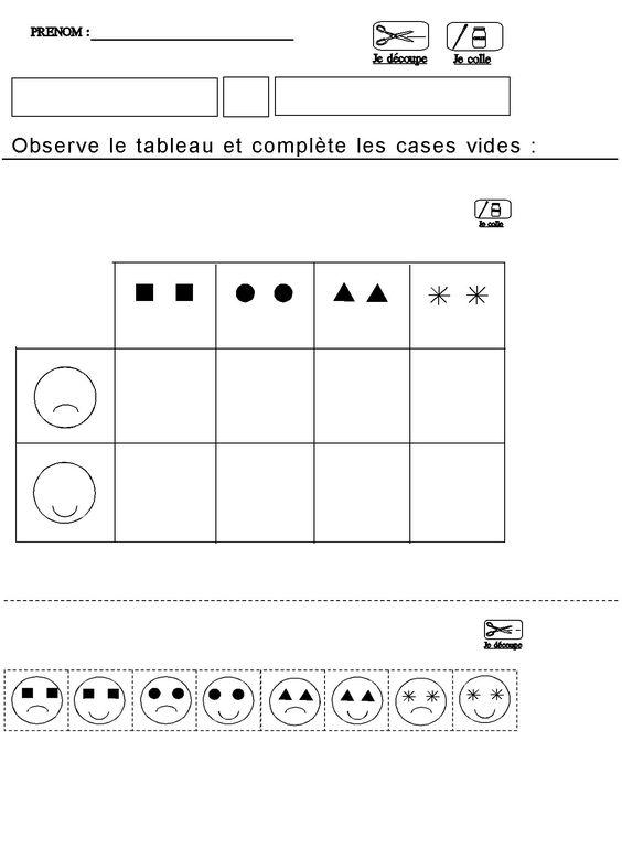 Tableau double entrees pour maternelle moyenne section for Tableau logique