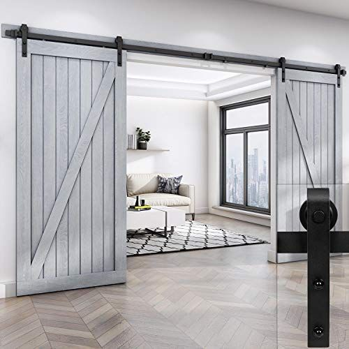 Easelife 12 Foot Double Sliding Barn Door Hardware Track Https Www Amazon Com Dp B01hzk6g2s Ref Cm S With Images Double Sliding Barn Doors Barn Door Closet Barn Door