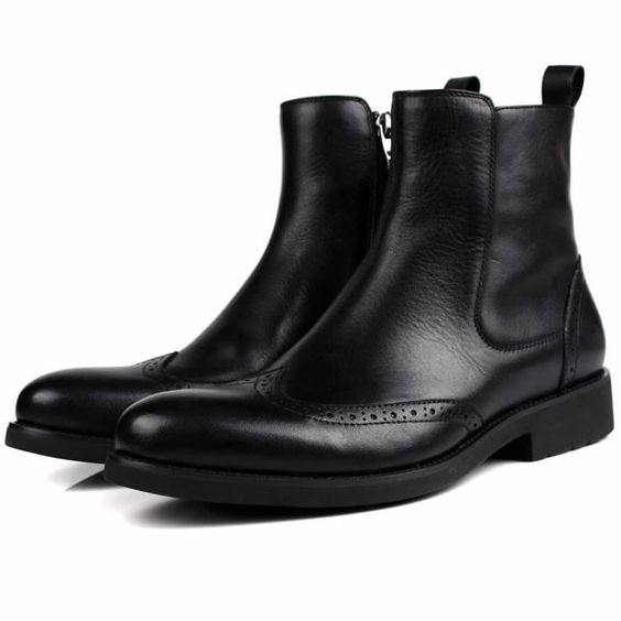 Men Black Leather Retro Vintage Dress Brogue Chelsea Boots SKU-1100908