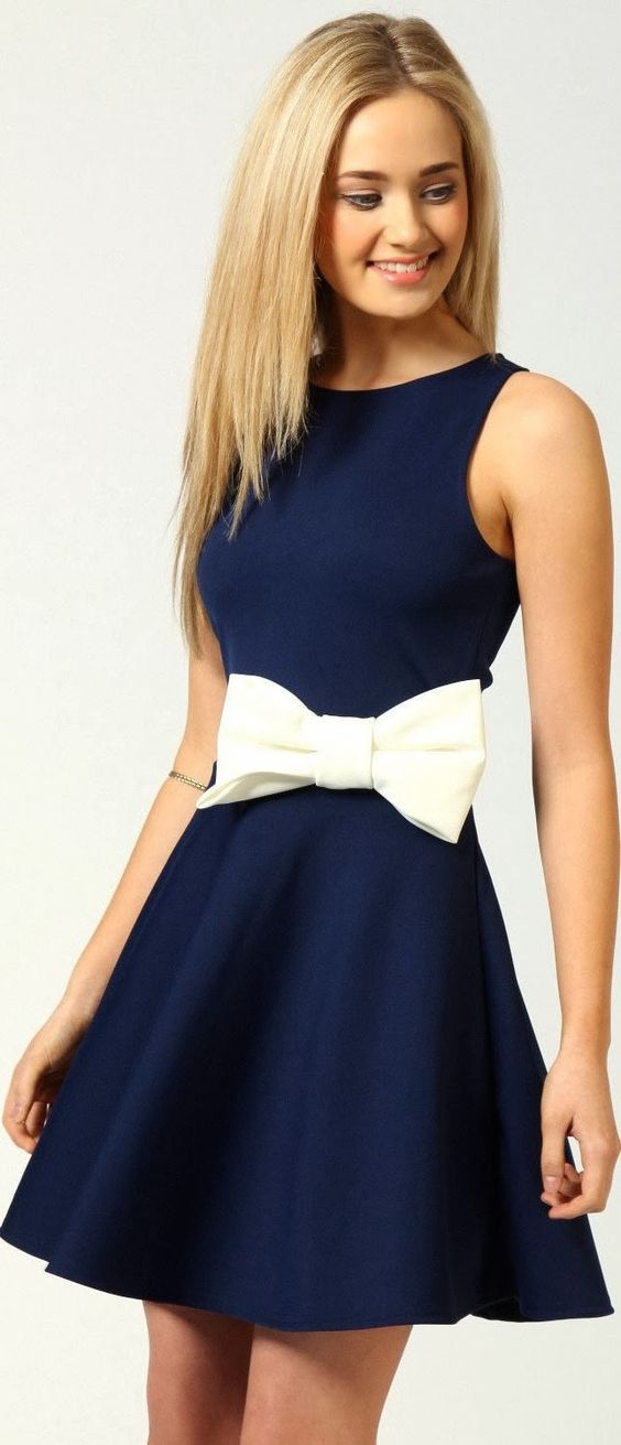 adorable navy blue dress with bow waist: