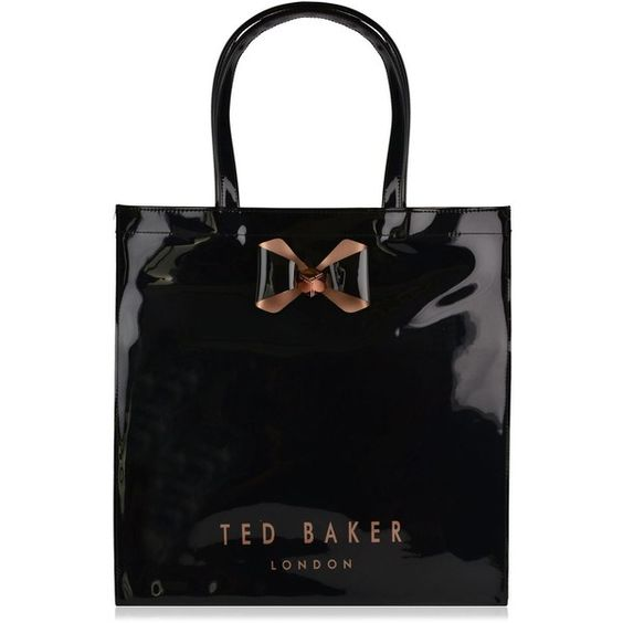 Ted Baker Bowicon Large Bow Shopper Bag ($60) ❤ liked on Polyvore featuring bags, handbags, tote bags, black, black patent purse, black patent leather handbag, black patent leather purse, black handbags and shopping bag