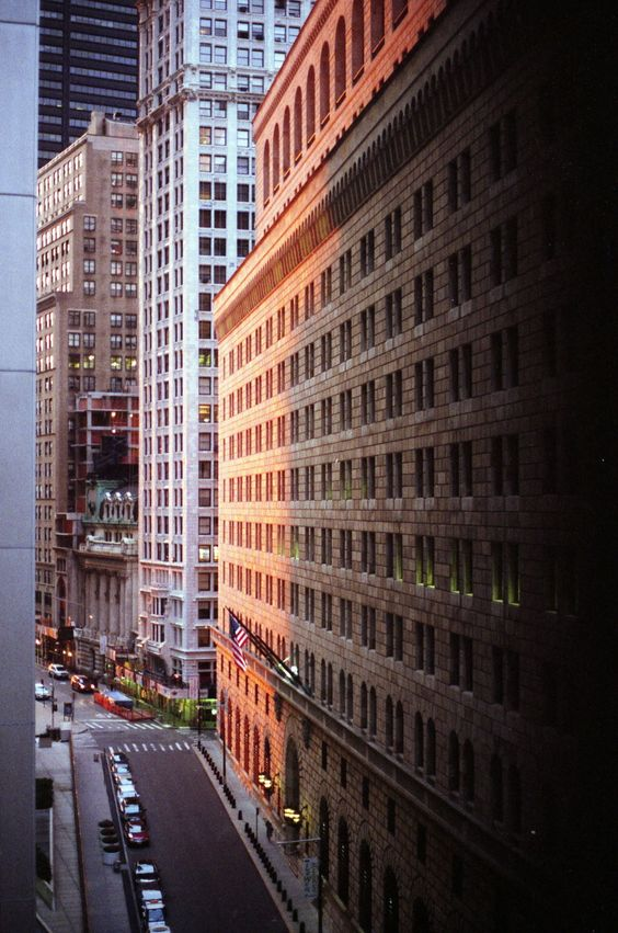 The FInancial District (looking south down Liberty Street toward Maiden Lane), NYC