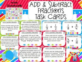 math worksheet : add and subtract fractions task cards  game  word problems task  : Adding And Subtracting Fractions Word Problems Worksheet