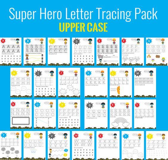 super hero letter tracing uppercase | Super Hero Theme | Pinterest ...