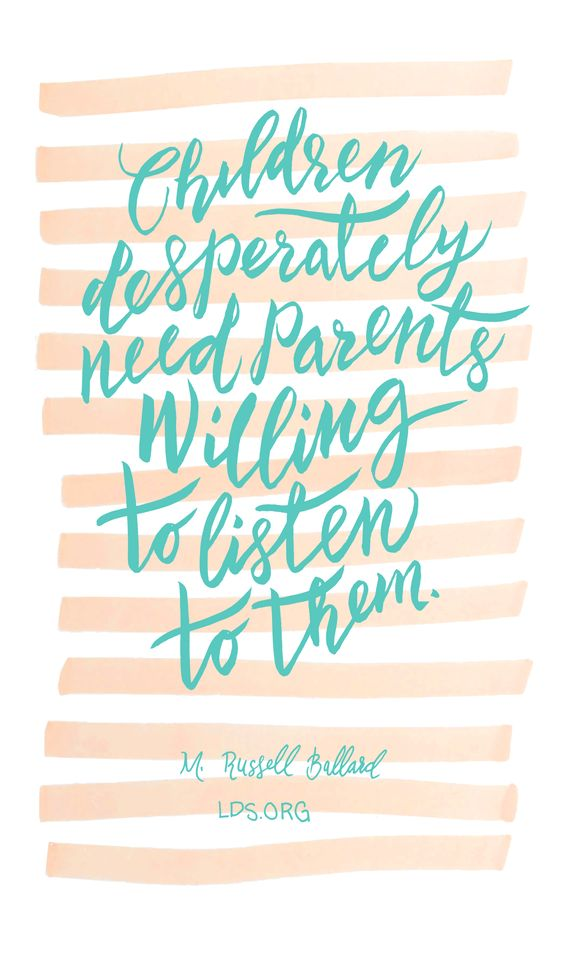 """Children desperately need parents willing to listen to them."" M. Russell…:"